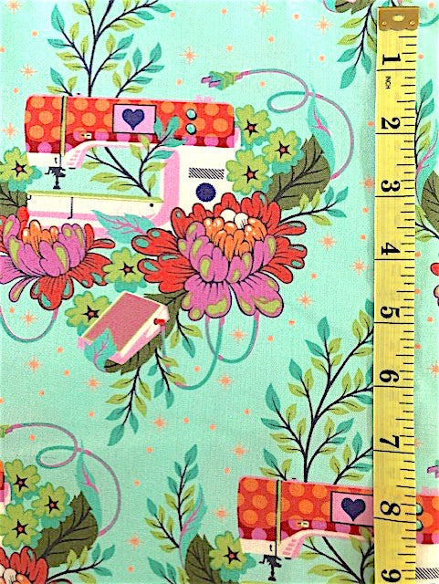 Fabric - Floral - Tula Pink Sewing Machines with Flowers