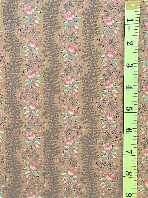 Fabric - Stripe - Serpentine Floral Stripe - Brown