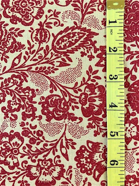 Fabric - Floral - French General - Medium Scale Red on Ecru Background