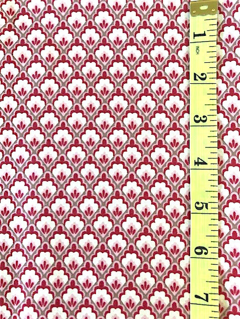 Fabric - Floral - French General - Pink Cream & Red with Dark Taupe CrossHatch