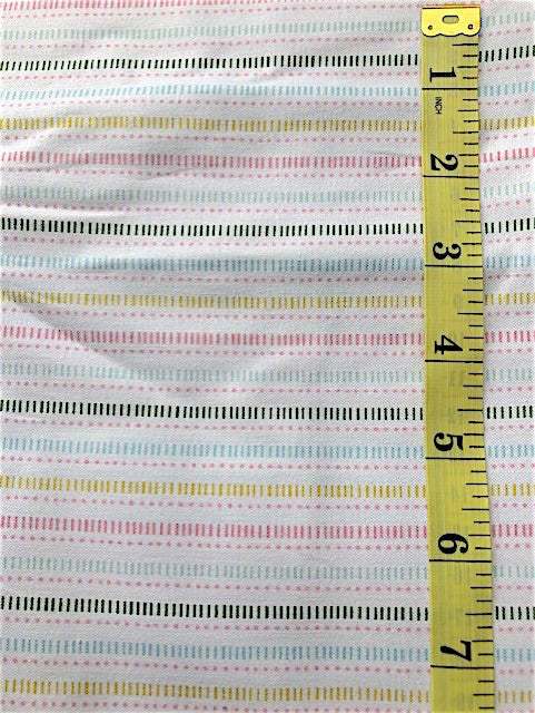 Fabric - Stripe - Multi Coloured on White Background