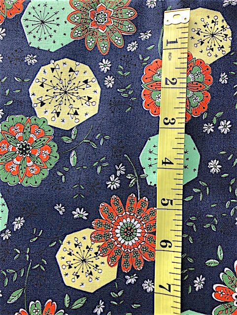 Fabric - Floral - Orange, Green & Yellow Flowers on Dark Navy Background - Yuwa