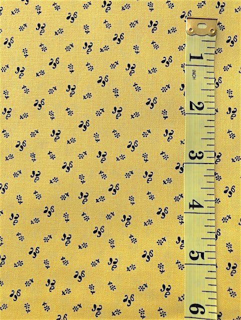 Fabric - Reproduction - Shirting - Black Squiggles on Acid Yellow Background