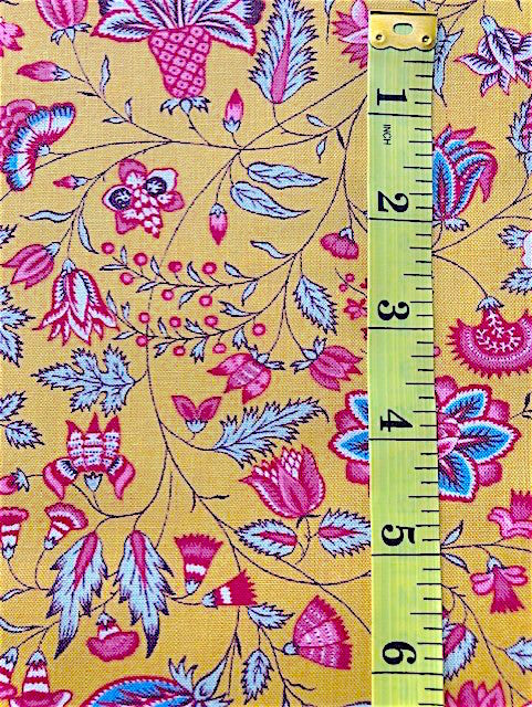 Fabric - Dutch Heritage - Multi Coloured Floral on Yellow Background