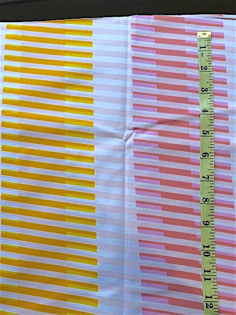 Fabric - Stripe - Horizontal & Vertical Stripes in Yellow/Orange/Pinks