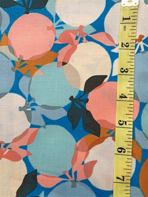 Fabric - Floral - Multi Coloured Apples - Blue Colourway