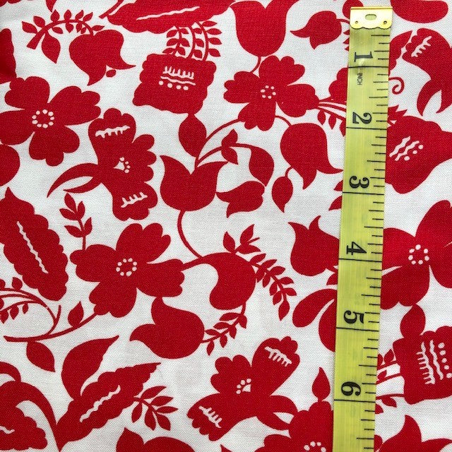 Fabric - Floral - Red & White