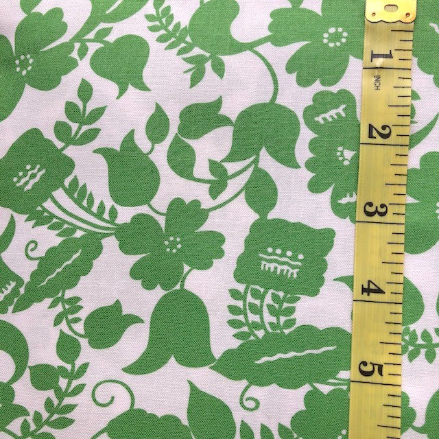 Fabric - Floral - Apple Green & White