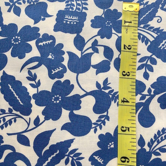 Fabric - Floral - Medium Scale Blue & White