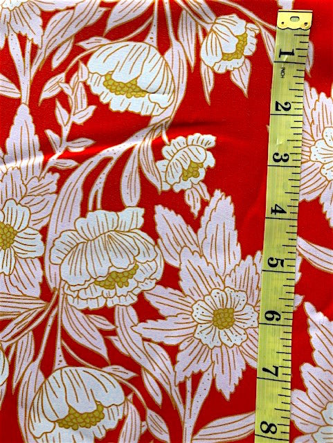 Fabric - Floral - Large Scale White & Gold Flowers on Red Background