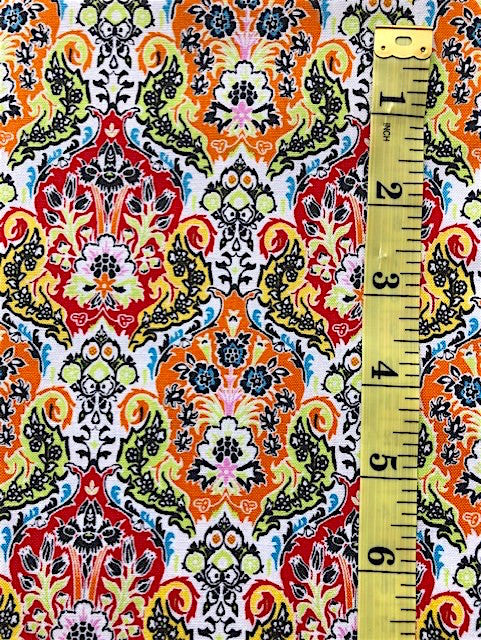 Fabric - Floral - Multi Coloured on White Background