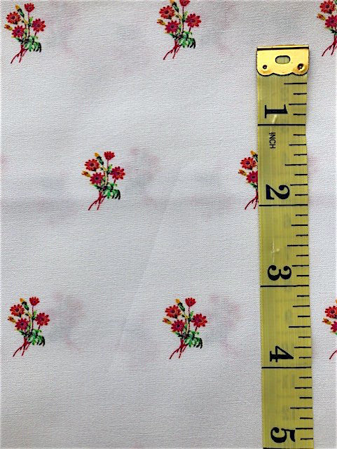 Fabric - Floral - Small Scale Orange/Red & Bright Green on White Background
