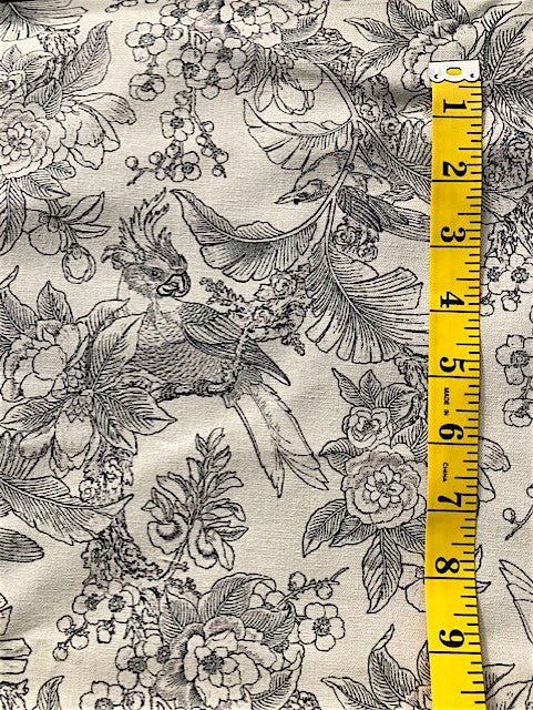 Fabric - Floral  - Black Toile Style Birds & Flowers on Natural Background