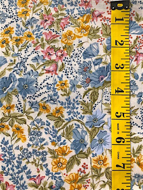 Fabric - Floral - Multi Coloured on Off White Background