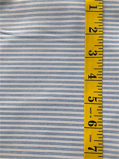 Fabric - Stripe - Pale Blue Ticking Stripe on Off White Background