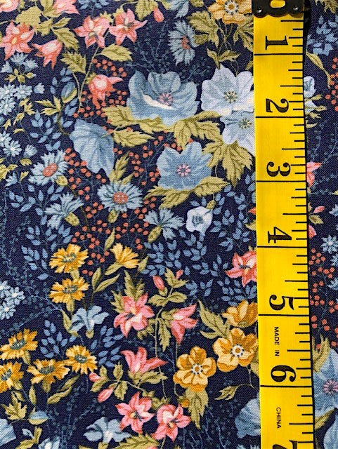 Fabric - Floral - Multi Coloured on Dark Blue Background