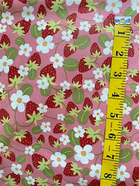 Fabric - Floral  - Red Strawberries on Pink Background
