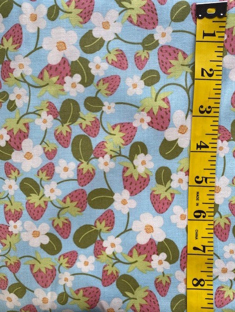 Fabric - Floral  - Pink Strawberries on Pale Blue Background
