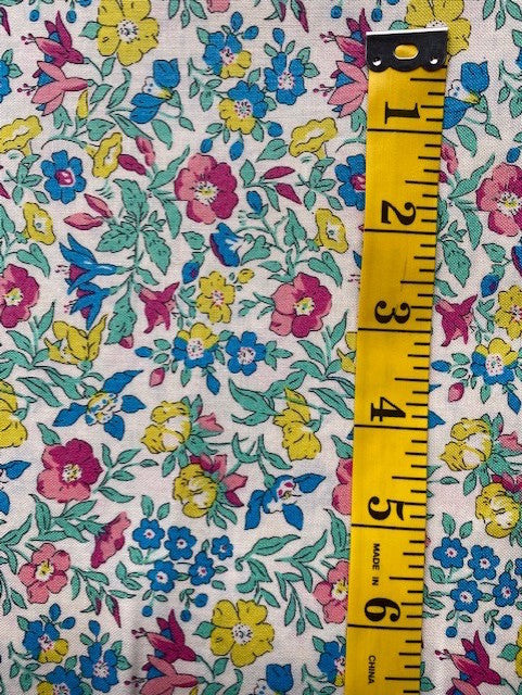 Fabric - Floral - Liberty Cotton -  Pink, Yellow and Blue Flowers on White Background