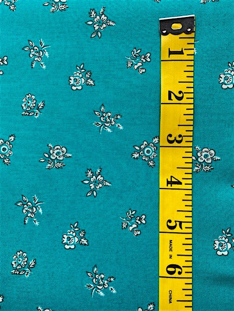 Fabric - Floral - Liberty Cotton -  Small Bunches scattered on Jade Background