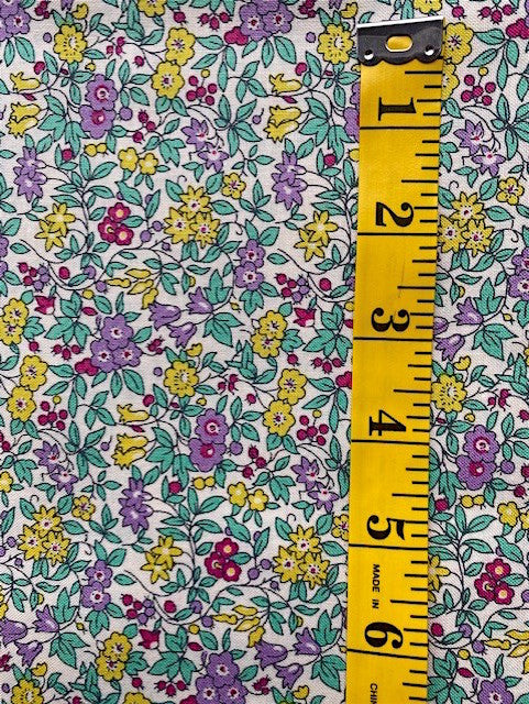 Fabric - Floral - Liberty Cotton - Small Scale Mauve Pink & Yellow Flowers on White Background
