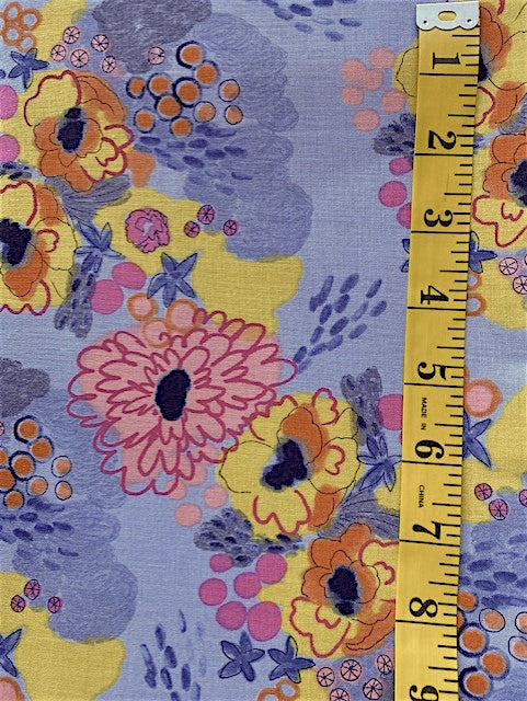 Fabric - Floral  - Multi Coloured Flowers on Grey Background