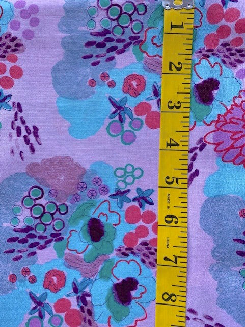 Fabric - Floral  - Multi Coloured Flowers on Mauve/Pink Background