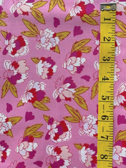 Fabric - Floral  - Multi Pink Small Bunch on Pink Background