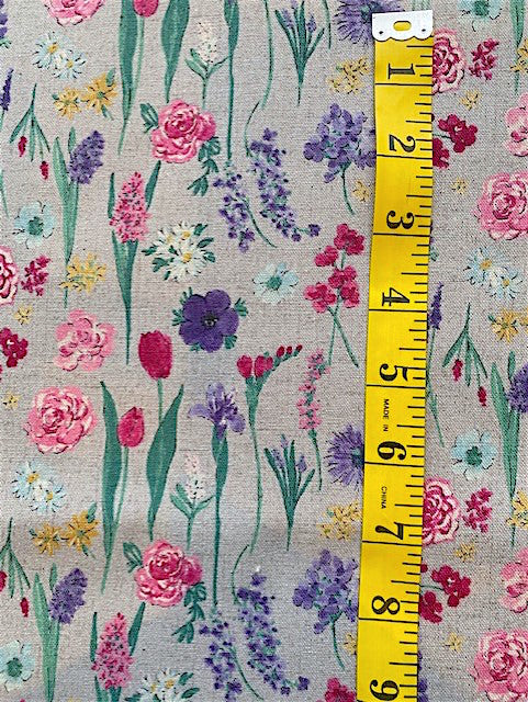 Fabric - Floral - Meadow Flowers 2 on Grey Background