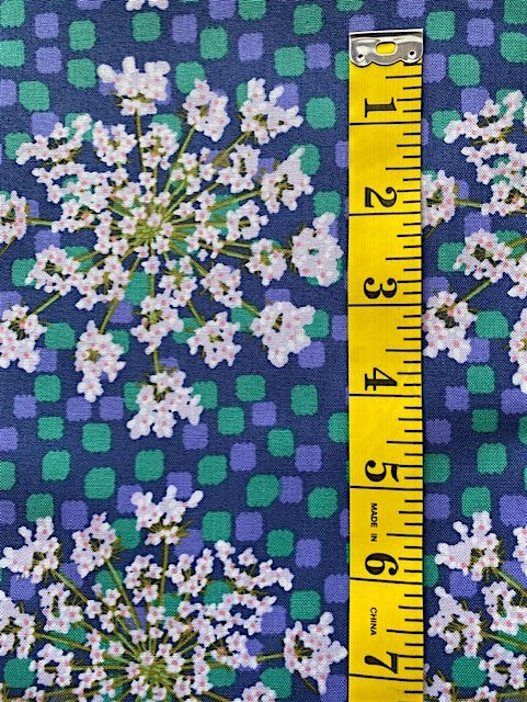 Fabric - Floral - Large Scale on Dark Blue Background