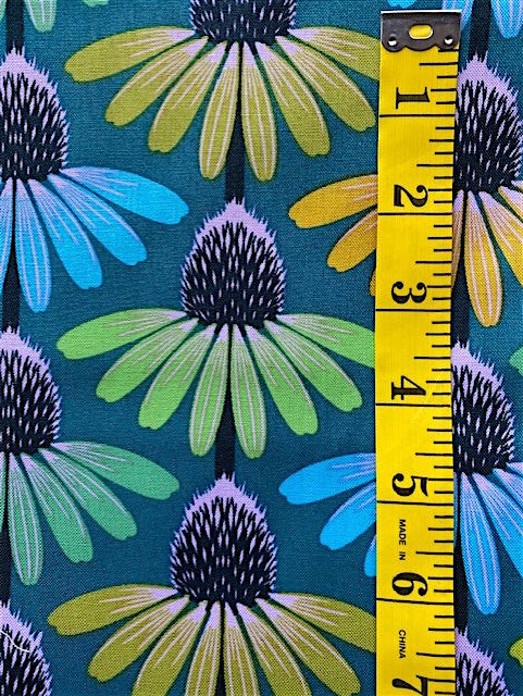 Fabric - Floral  - Multi Coloured Echinacea onJade Background
