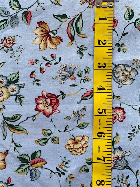 Fabric - Dutch Heritage - Medium Scale Floral on Blue Background