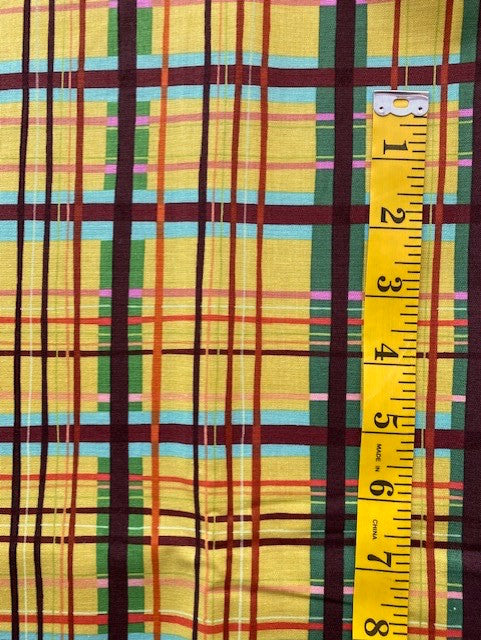 Fabric - Checks & Plaids - Multi Coloured Plaid on yellow background