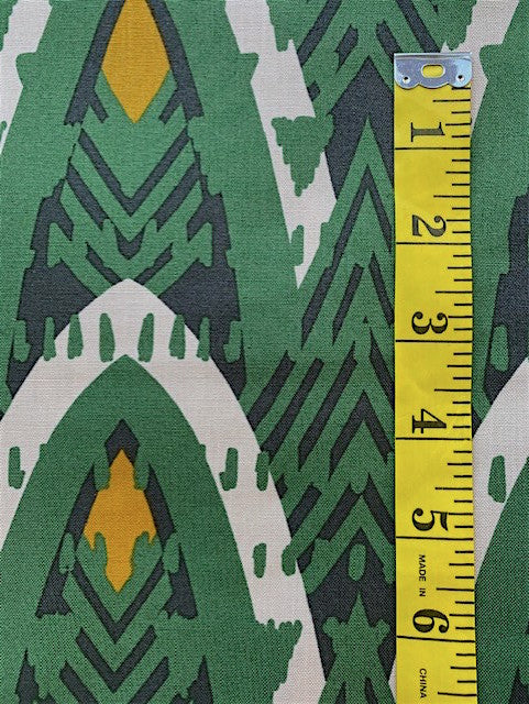 Fabric - Geometric - African Look Design in Green Black & Gold