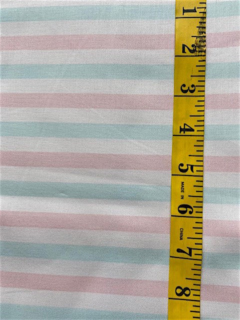Fabric - Stripe - Soft Pink, Mint Green & Off White
