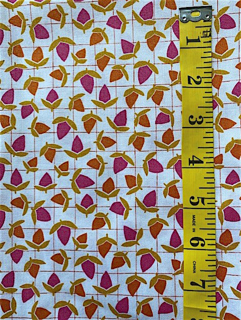 Fabric - Floral - Orange & Pink Buds on White Background with Red Lines
