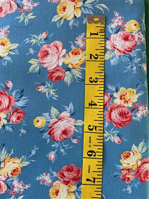Fabric - Floral - Bunches of Red, Pink & Yellow Roses on Blue Background