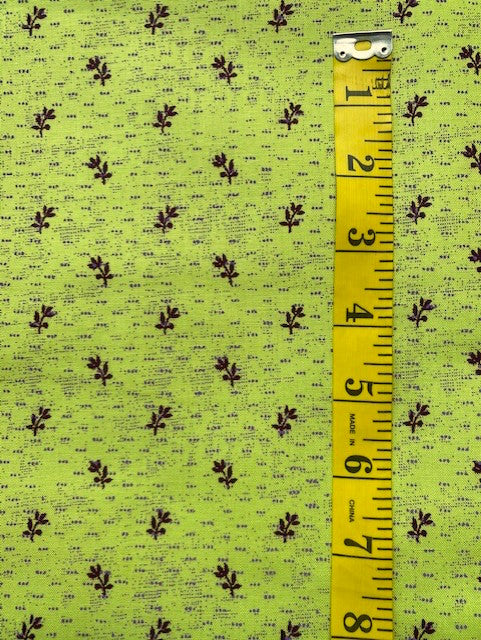 Fabric - Old Brights - Aubergine Sprig & Dots on Chartreuse Background