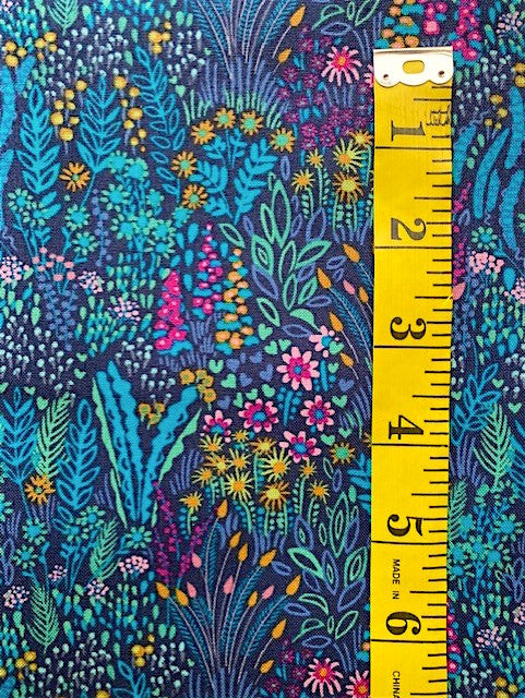 Fabric - Solstice - Cottage Garden Aqua & Turquoise Print on Dark Navy Background