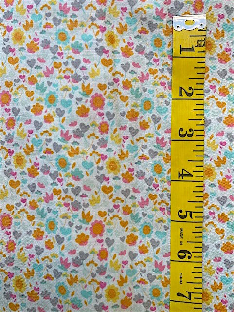 Fabric - Solstice - Small Floral on Off White Background