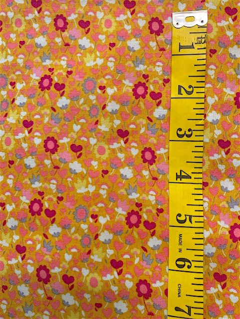 Fabric - Solstice - Small Floral on Orange/Gold Background
