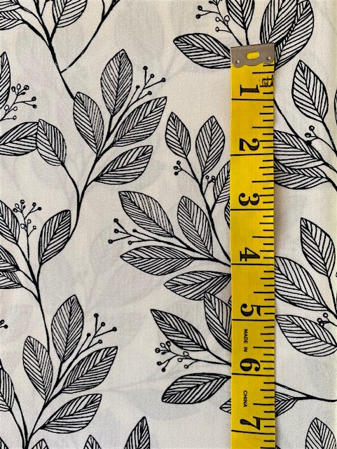 Fabric - Floral - Black & White Leafy Vine on Off White