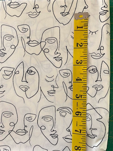 Fabric - Conversation - Stylised Faces on Off White Background
