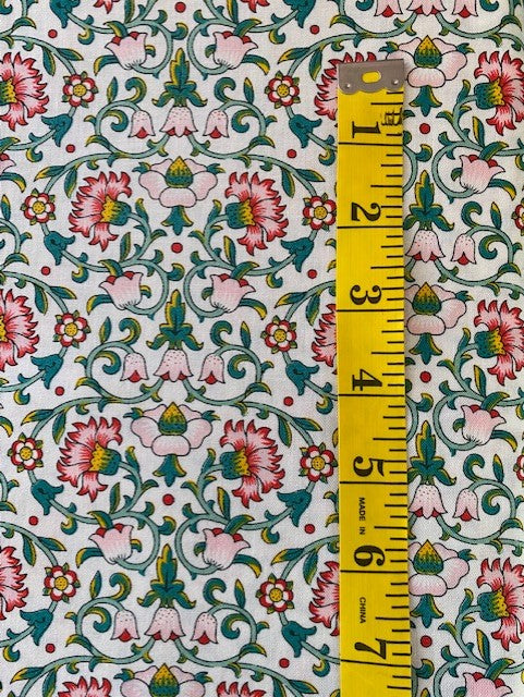 Fabric - Floral - Liberty Cotton Pink & Green in A William Morris Style Design