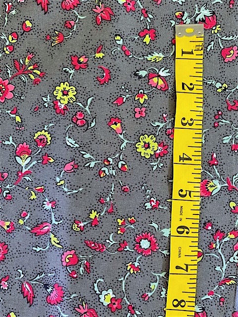 Fabric - Floral - Yellow Pink & Duck Egg Flowers on Dark Grey Background