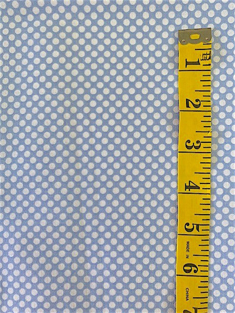 Fabric - Spots - White Spot on Soft Blue