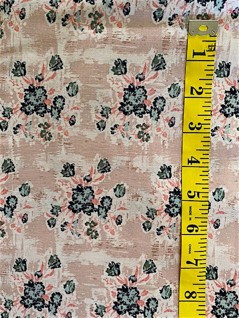 Fabric - Floral - Blue/Coral & Black Bunches on Mushroom Background
