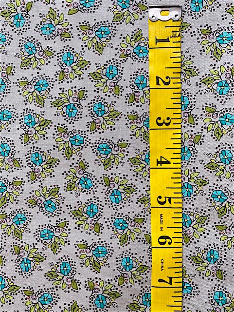 Fabric - Floral - Small Scale on Grey Background