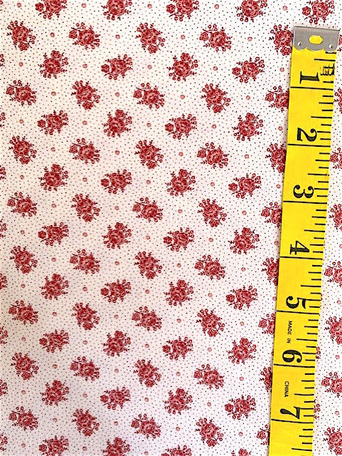 Fabric - Floral - Small Scale Raspberry on Micro Spot Background
