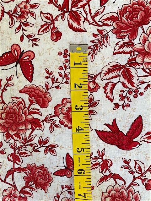 Fabric - Floral - Medium Scale Red with Birds & Butterflies